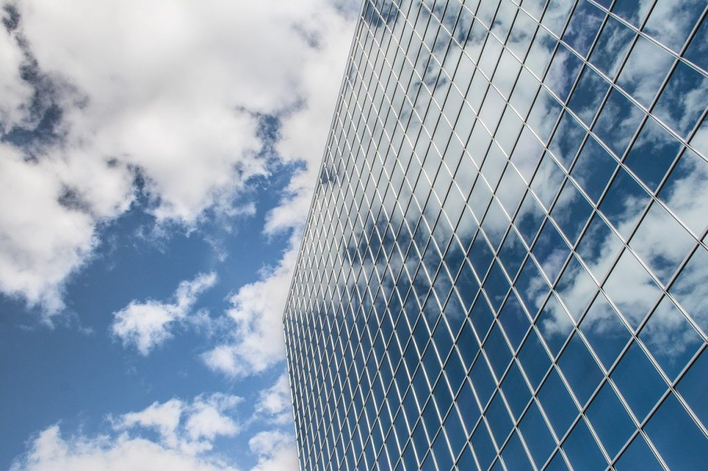 building, reflection, clouds